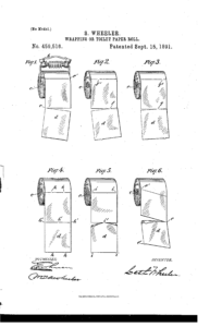 Toilet paper, toilet paper roll, patent, 1891, seth wheeler, modern toilet paper, toilet paper orientation, inventor, google patent, toilet paper, toilet, debate